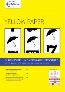 """Titelseite YellowPaper """"Glücksspiel und Verbraucherschutz"""""""
